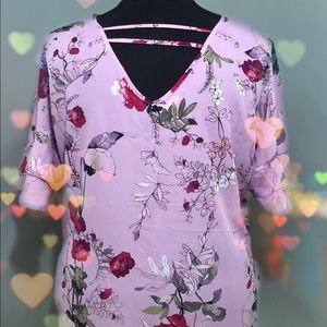 Maurices 2x lilac floral flutter sleeve blouse top